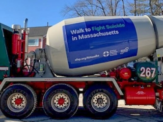 Ready mix truck with American Foundation Suicide Prevention Wrap